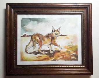"Original Framed Painting ""Caracal Homeland"""