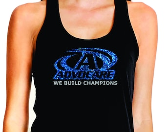 87e68d075a38e Advocare Glitter Black Fitted Razor Back Tank Top