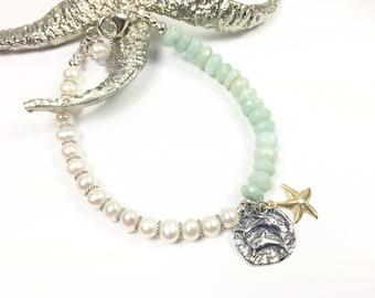 Dolphin Charm Bracelet, Starfish Charm, beach bracelet, Aquamarine Jewelry, Aquqmqrine bracelet, Pearl bracelet, Pearl Jewelry, bracelet