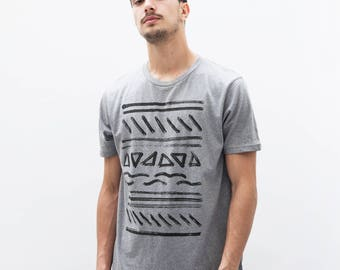 Unfold - men t-shirt, mens graphic tee, 100% Certified Organic Cotton, Hand Screen Printed - by Mileseed