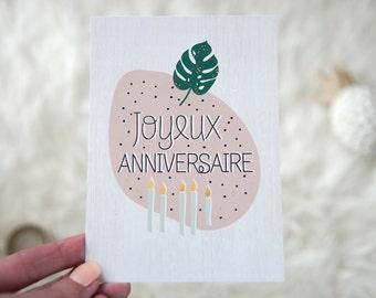 Card mailing birthday, happy birthday, tropical trend, monstera