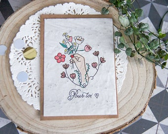 Postcard to plant: for you (happy to offer, thank you, friendship) seeded paper