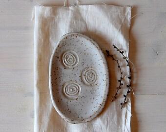 Löffel Rest, Spoonrest, Schmuck Teller, Steingut, Keramik Löffel Rest,  Löffel Rest Keramik, Kleine Teller, Schmuckaufbewahrung, Weiße Löffelablage
