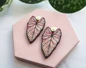 Tropical Drop Earrings - Pink Statement Plant Earrings - Statement Leaf Drop Studs - Tropical Leaf Stud Earrings - Caladium Earrings