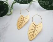 Gold Plant Hoop Earrings - Alocasia Hoop Earrings - Gold Leaf Hoop Earrings - Botanical Earrings - Gifts For Her