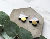 Dotty Triangle Earrings - Triangle Studs - Gold Geo Earrings - Geometric Brass Earrings - Gifts For Her - Pastel Earrings - Graphic Studs