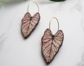 Pink Plant Earrings - Tropical Leaf Hoop Earrings - Caladium Hoop Earrings - Botanical Earrings - Gifts For Her - Mothers Day Gift