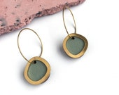 Mint & Gold Geometric Circle Hoop Earrings