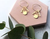 Gold Triangle Hoops - Terrazzo Hoop Earrings - Modern Gold Hoops - Gifts For Her - Triangle Earrings - Dangle Triangle Earrings