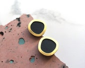 Circle Stud Earrings - Disc Studs - Petrol Blue Earrings - Gold Stud Earrings - Gold Circle Earrings - Minimal Studs - Gold Earrings