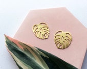 Minimal Gold Monstera Stud Earrings