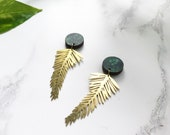 Gold Palm Leaf Earrings - Statement Drop Earrings - Palm Leaf Earrings - Gold Dangle Earrings - Dangle & Drop Earrings  - Statement Earrings