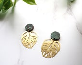Monstera Statement Gold Drop Earrings