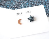 Moon & Star Earrings - Stud Earring - Moon Jewellery -  Star Studs - Zodiac Earrings  - Galaxy Earrings - Rose Gold Moon Earrings