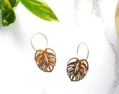 Gold Monstera Hoop Earrings - Minimal Gold Earrings - Tropical Hoops -Leaf Earrings - Cheese Plant Earrings