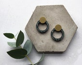 Blue & Brass Minimal Studs - Geometric Circle Stud Earrings - Ring Earrings - Hoop Studs - Geometric Earrings