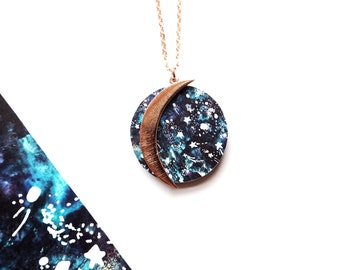 Moon Necklace - Zodiac Necklace - Rose Gold Moon Necklace - Moon Jewellery - Zodiac Jewellery - Celestial Jewellery - Rose Gold Jewellery