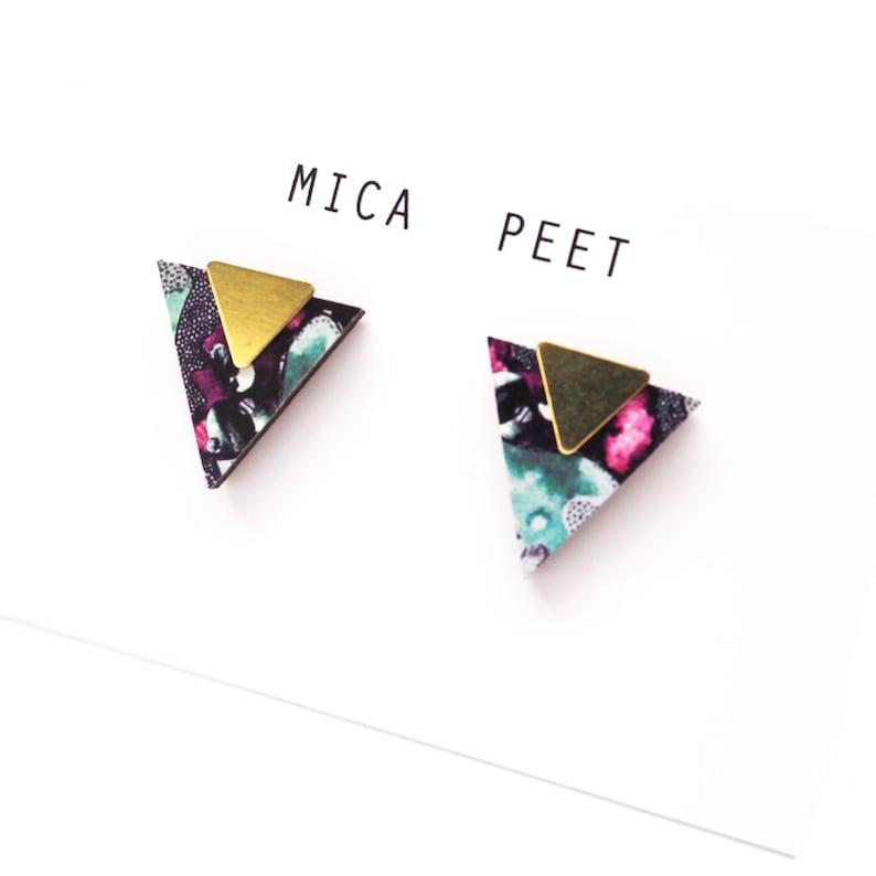 Geometric Earrings  Triangle Stud Earrings image 0
