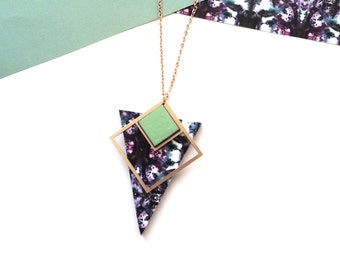 Triangle Necklace - Geometric Jewellery - Modern Necklace - Rose Gold Marble Necklace - Gifts For Her - Gifts For Friends