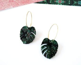 Green Plant Hoop Earrings - Tropical Leaf Jewellery - Monstera Earrings - Tropical Hoop Earrings  - Plant Earrings - Botanical Jewellery