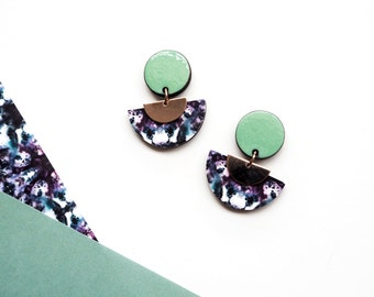 Marble Earrings - Rose Gold Geometric Drop Earrings - Dangle Earrings - Geometric Art Deco Earrings -Rose Gold - Geometric Jewellery