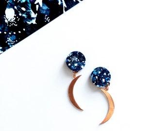 Moon Earrings - Party Earrings - Zodiac Jewellery - Zodiac Earrings - Moon Jewellery - Moon Phases - Rose Gold Moon Drop Earrings