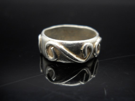  r1 .925 Se Sterling Silver Ring Size 7 Thin Single Heart Vintage Antique 100% Guarantee