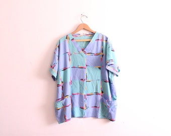 Pastel Abstract 80s Pocket Shirt