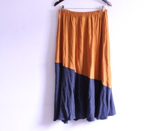 Colorblock 80s Midi Skirt