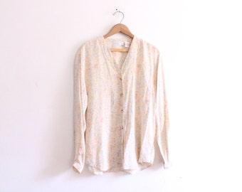 Pastel Print 90s Silk Blouse