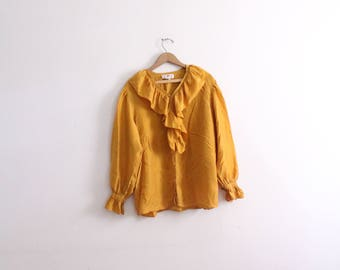 Romantic Gold Ruffled Silk Blouse