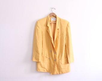 Luxe Yellow Ochre Linen Blazer Jacket