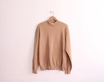 Minimal Tan Mock Turtleneck Sweater