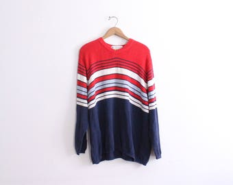 Bold Striped 90s Loose Sweater