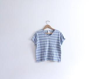 Blue Striped Boxy 90s Tee