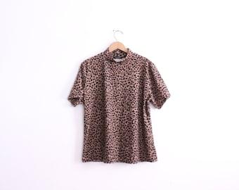 Velour Cheetah Print 90s Turtleneck Top