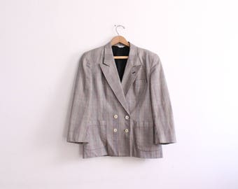 Checked Plaid Double Breasted 90s Blazer