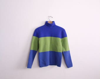 Bold Colorblocked 90s Turtleneck Sweater