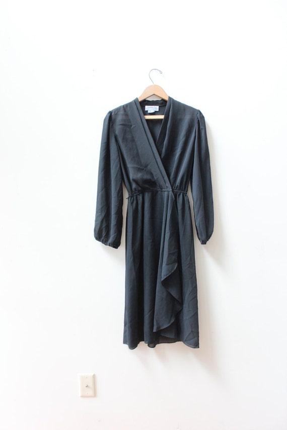 Black 90s Chiffon Wrap Dress