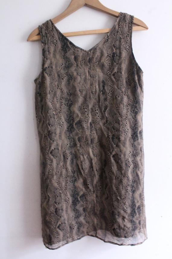 Snakeskin Silk Chiffon Mini Dress - image 4