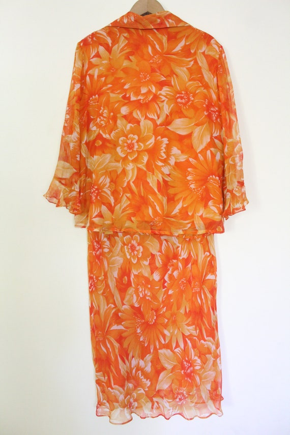Tropical Floral Silk Chiffon Outfit - image 6