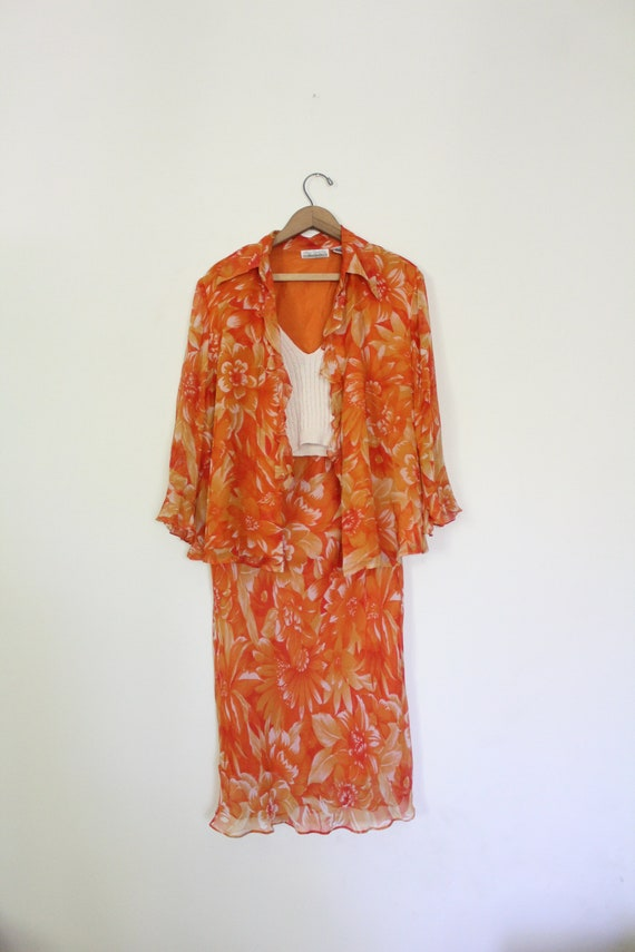 Tropical Floral Silk Chiffon Outfit