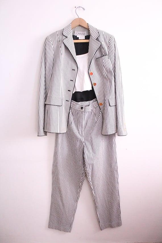 Vintage 90s Seersucker Striped Pant Suit - image 3