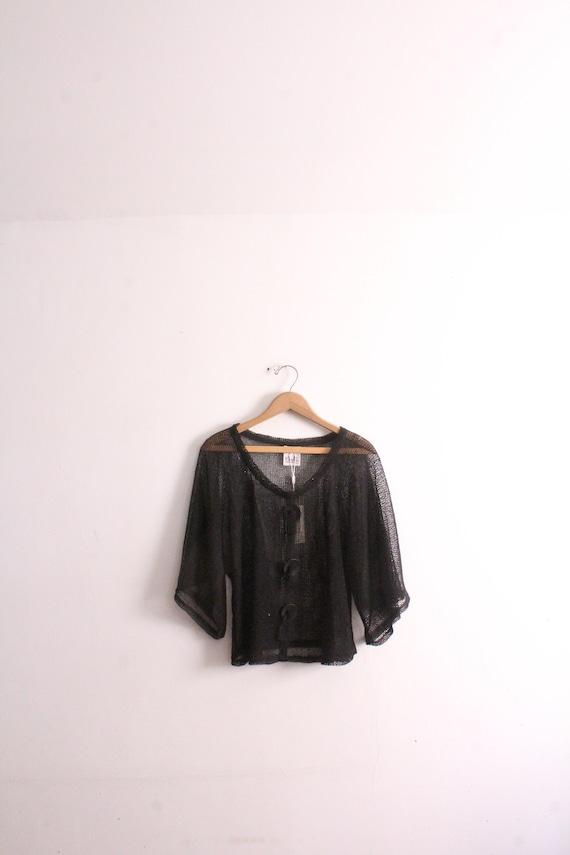 Black Mesh 90s Beach Goth Shirt