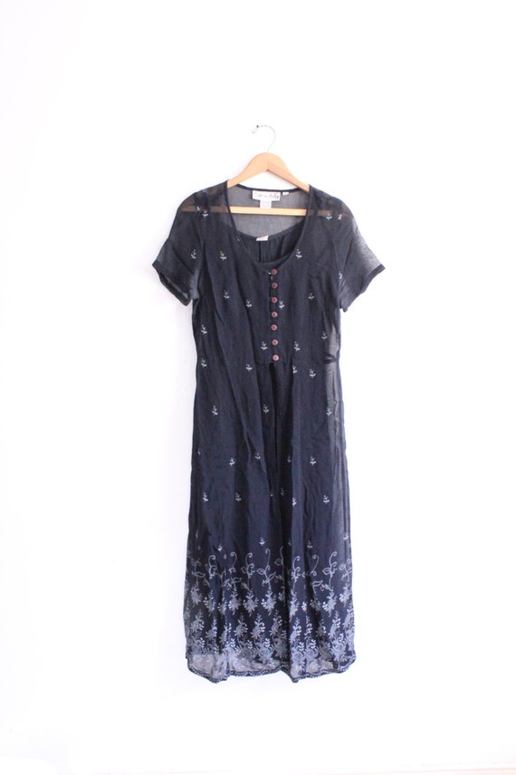 Sheer Mesh Layered 90s Maxi Dress