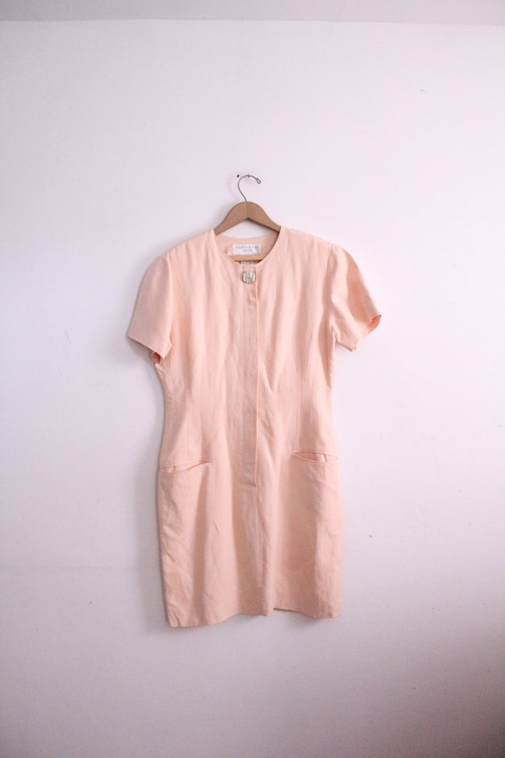 Pale Pink Minimal 90s Tea Dress