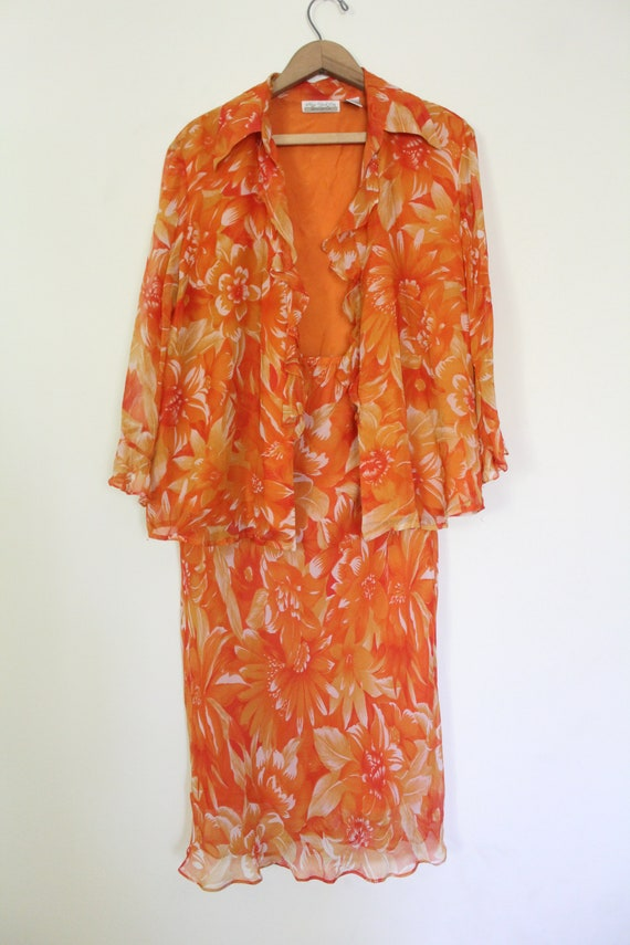 Tropical Floral Silk Chiffon Outfit - image 3
