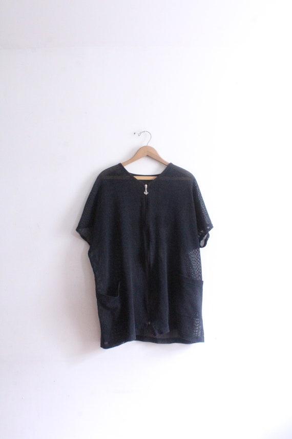 Black Beach Mesh Shirt Jacket