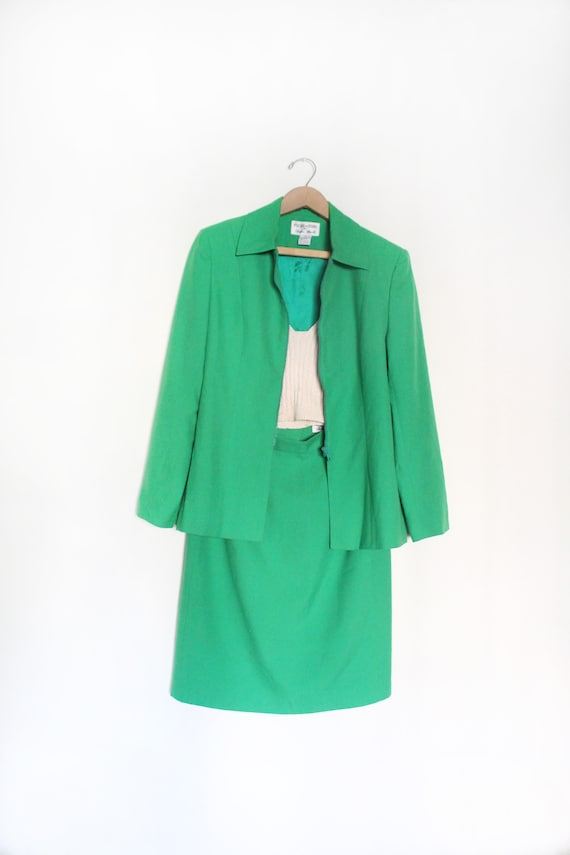 Kelly Green 90s Skirt Suit