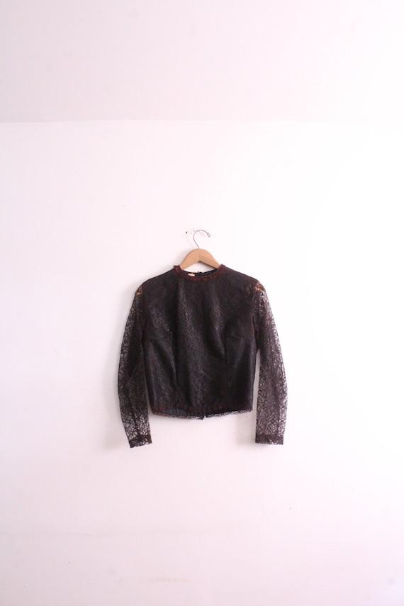 Vintage 50s Black Lace Victorian Blouse